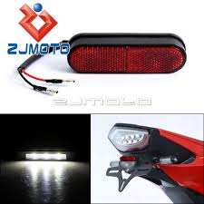 Universal Motorcycle License Plate Light Us 5 98 8 Off 1piece Zjmoto Universal Motorcycle Rear Reflector License Plate Light Streetbike Emark Tail Red Reflector Led Number Plate Light On