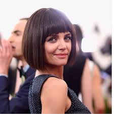 clic short brunette blunt bob haircut with blunt bangs for women over 50
