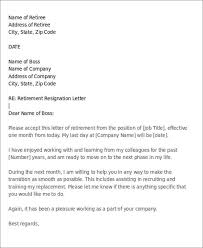retirement resignation letter to employer retirement letter to company