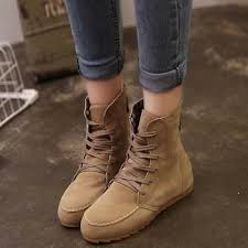 Women Fashion <b>Suede Leather</b> Lace-Up Boot <b>Flock Flat</b> Ankle ...
