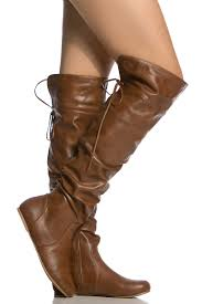 chestnut faux leather knee high slouch boots