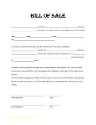 General Bill Of Sale Form Free Simple Car Bill Of Sale Template