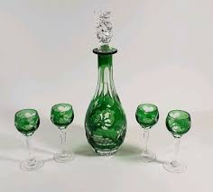 vintage cut to clear green czech glass cordial wine decanter set of 5 pieces