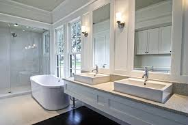 spacious all white bathroom. Modern Spacious White Bathroom With Dark Wood Floors All H