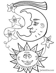 Coloriages Coloriage Du Soleil La Lune Et Les Toiles Fr
