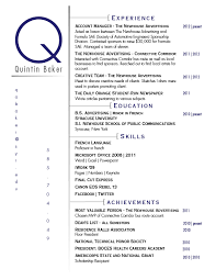 quintin baker final resume - Sample Baker Resume