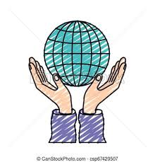 Chart Charity Color Crayon Silhouette Hands With Floating Globe Chart Charity Global Symbol