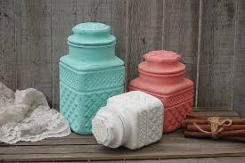 Green Canister Sets Kitchen Mint Green And Coral Kitchen Canister Set From The Vintage