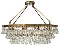celeste flush mount glass drop crystal chandelier brass 32