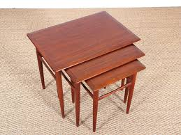 danish mid century modern nesting tables in teak