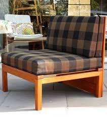 oregon pine and original chequered fabric three piece modular sofa by mogens koch designed to