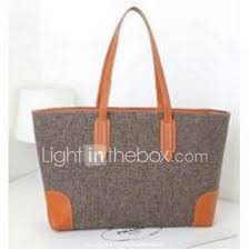 Light In The Box Handbags Women Linen Weekend Bag Tote Beige Khaki Camel 4460534