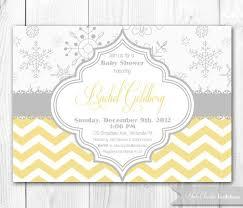 Snowflake Baby Shower Invitations Snowflake Baby Shower Invitation In Yellow Gray Diy Printable