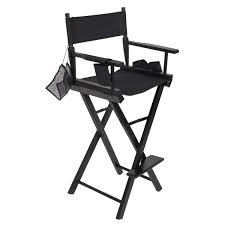 best choice s foldable lightweight professional makeup artist directors chair w water bottle holder accessory pouch small storage pouches black
