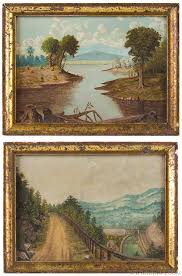 antique pair of small oil on paper landscape paintings late 19th century pair view