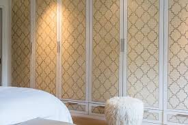 Wardrobe Closet Doors with Yellow and Gray Quatrefoil Wallpaper