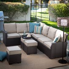 belham living monticello all weather outdoor wicker sofa sectional set hayneedle