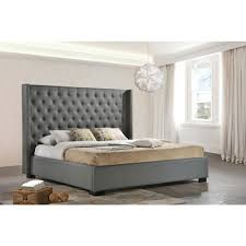 luxeo newport gray king upholstered bedluxkgry  the home depot
