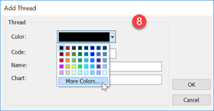 How Do I Create A New Thread Chart And Add Rgb Values