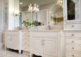 impressive crystal chandelier and elegant wall sconces for classic bathroom decorating plan with victorian styled vanity