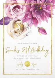 E Invites For Birthday 21st Birthday Invitations Customize And Print Online With