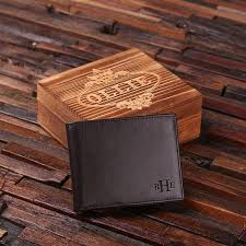 personalized monogrammed engraved genuine leather bifold mens wallet with optional wood gift box groomsmen best man father s day gift