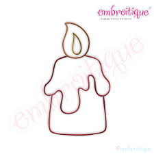Simple Christmas Candle Embroidery Design - Large