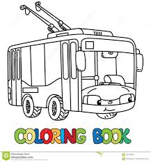 trolley or trolleybus coloring book for kids small funny vector cute car with eyeouth children vector ilration