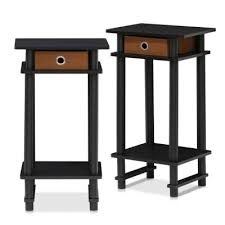 turn n espresso and brown tall end table with bin set of