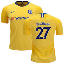 - 19 League Club Men's Chelsea Shirt 27 Soccer Fc Yellow 18 Premier Authentic Andreas 8630047 Away Short Christensen Jersey