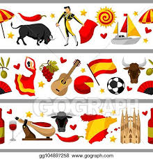 Traditional Symbols Vector Art Spain Seamless Border Spanish Traditional Symbols And