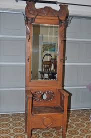 Antique Hall Coat Rack Antique Oak Entry Hall Tree With Storage Bench Beveled Mirror 9