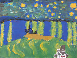 i have been attempted to copy vincent van gogh starry night over the rhone he painted it in september 1888 he painted it with oil paint and the title is