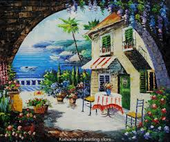 cafe at oceanside terranean scenes by famous scenery artist reions decorative handmade museum landscape oil painting in painting calligraphy