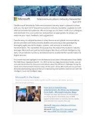 Microsoft Telecommunications Industry Newsletter April 2019
