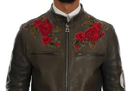 leather roses embroidered jacket retail