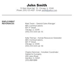 References For A Resume Format Resumes References Examples Resume