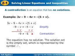 a contradiction is an equation that has no solutions