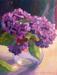 still life painting hydrangeas glass bowl by david lloyd glover