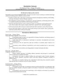 Construction Manager Resume Resume Summary Examples Construction