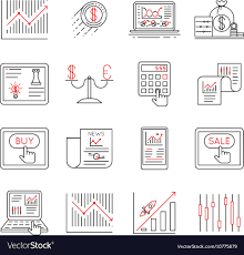 Investment Style Chart Finance And Stock Line Icons Investment Strategy