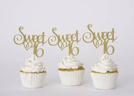 Sweet Sixteen Cup Cake Topper Sweet 16 Sweet 16 Cup Cake Etsy