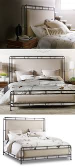 Industrial, rustic and modern, all crosslink. Tubular metal frame forms tall  headboard,