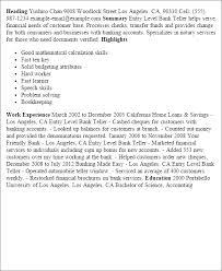Banking summary for resume