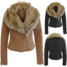 new las women pu biker jackets gold fur collar quilted pvc leather zip er