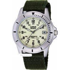 lorus watch luminous lorus by seiko rxh005l9 mens watch green webbed strap luminous dial 100m date