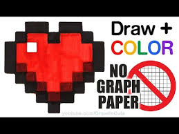 How To Draw Color A Minecraft Heart Easy No Graph Paper