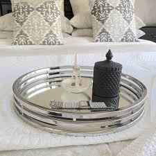 round silver mirror tray xlarge humble home