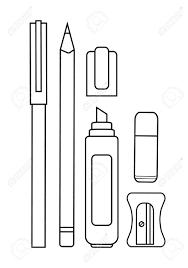eraser clipart black and white. art illustration isolated on white. stationery writing tools set. pen, pencil, yellow marker, eraser, sharpener. eraser clipart black and white