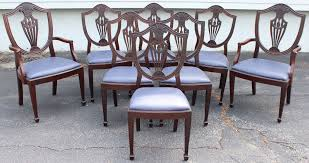 Set Of  Mahogany Hepplewhite Style Shield Back Upholstered Dining - Shield back dining room chairs